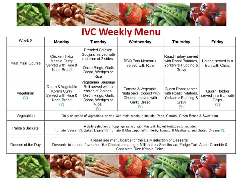 IVC Weekly Menu Cycle Week 2